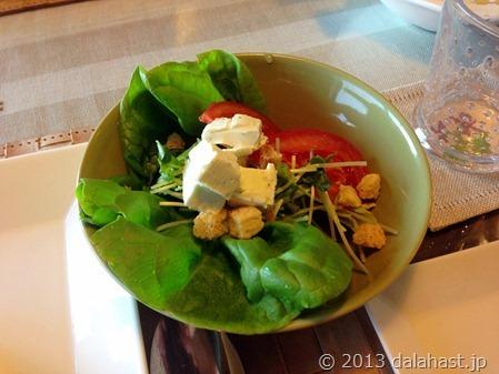 水耕栽培のサラダ菜とクリームチーズサラダ