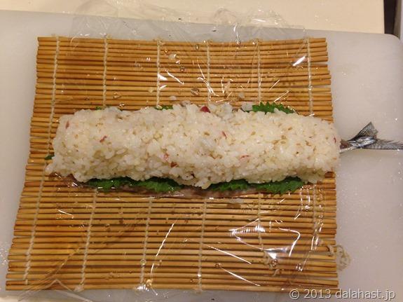 秋刀魚の棒寿司巻く前