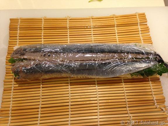 秋刀魚の棒寿司巻きあがり