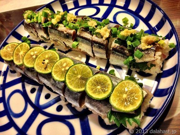 旬の秋刀魚の棒寿司