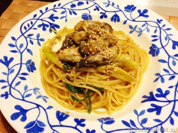 牡蠣とネギのゴボウ味噌パスタ