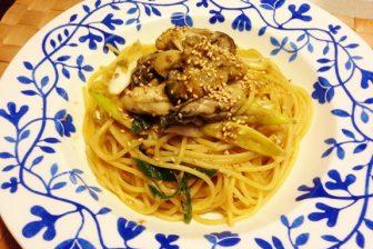 牡蠣とネギのゴボウ味噌パスタという奇跡