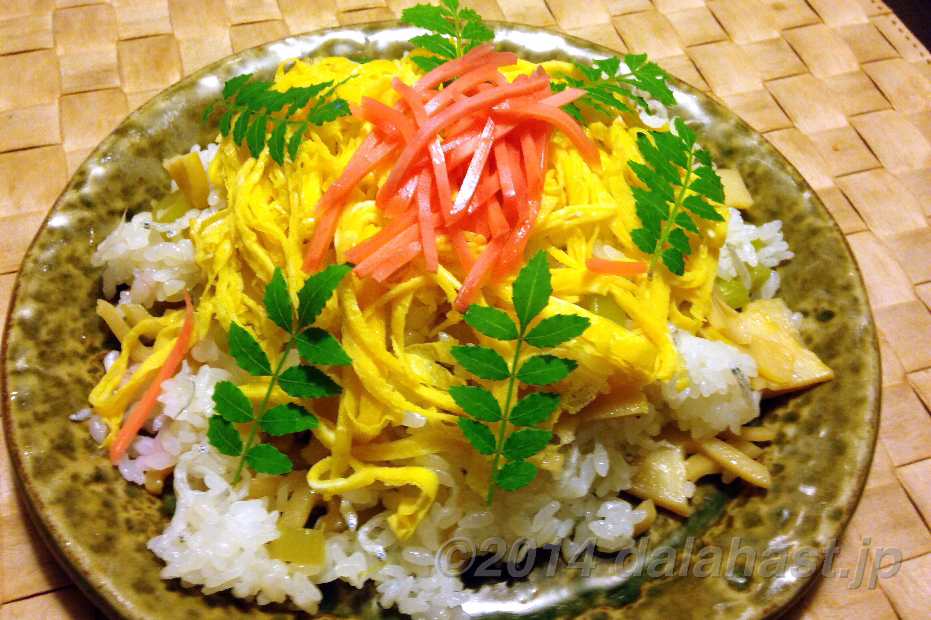 木の芽の香り、筍と蕗の食感が楽しい、母直伝の彩り筍寿司