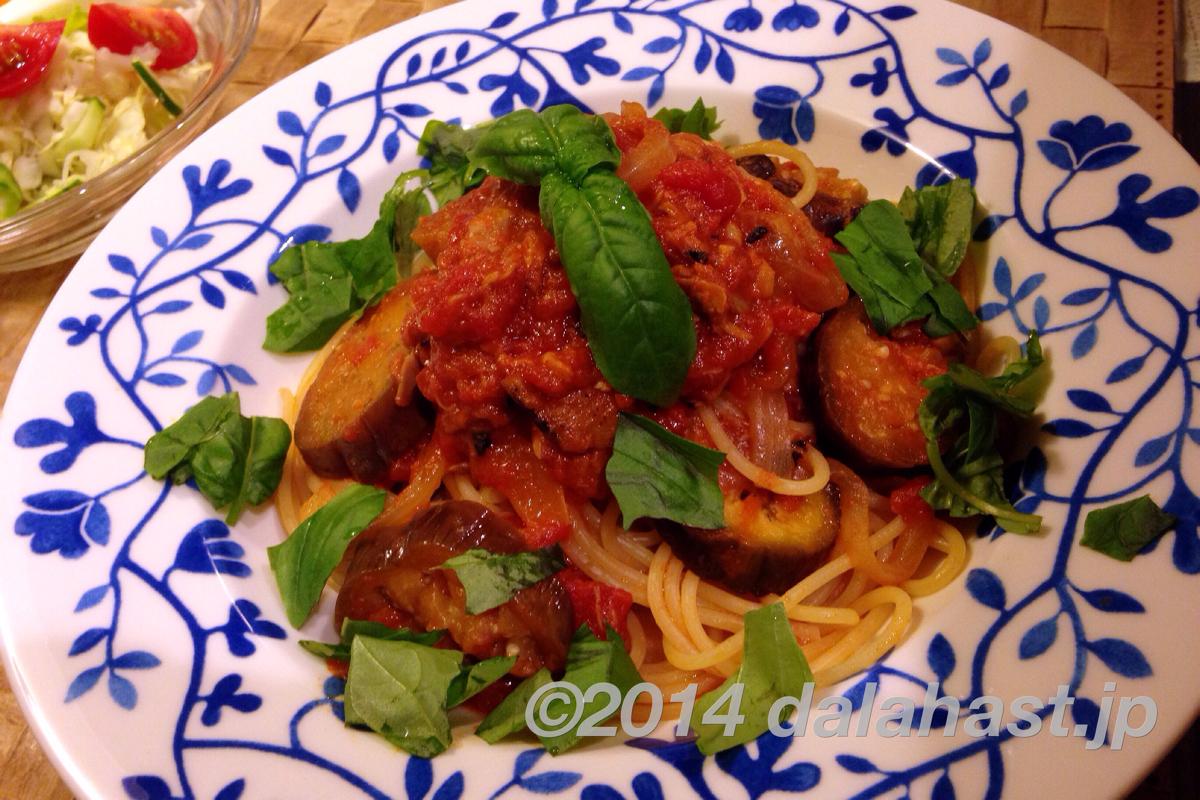 茄子とトマトとツナのパスタ