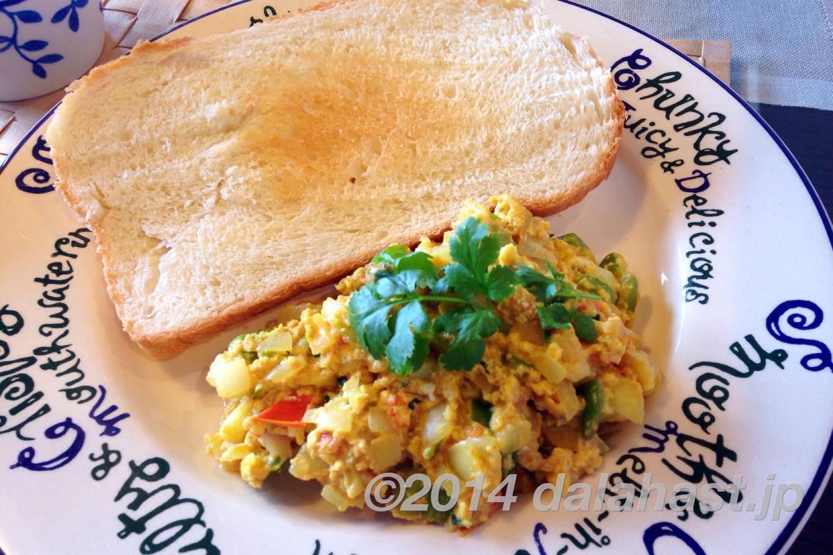 朝食のサイドメニューやサンドイッチにもあう、スパイシーなインド風スクランブルエッグ Egg Bhurjiの作り方