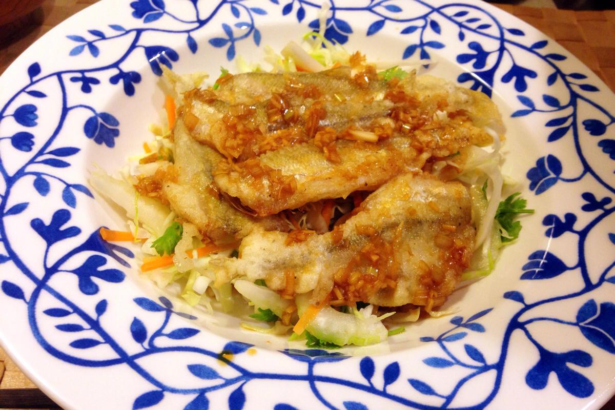 夏飯 ピリカラの酢醤油でさっぱり食べる、チカの唐揚げ