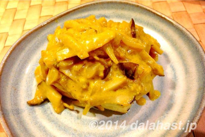キノコと豆腐のカレーソース