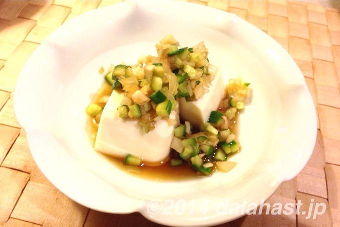 キュウリとラッキョウのトッピング豆腐