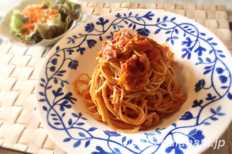 茹でないパスタ 水づけパスタで時短レシピ 夏野菜とツナのパスタ