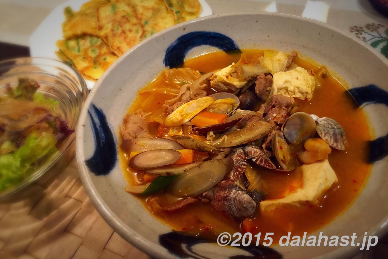 お手軽自宅で韓国料理 韓国風チゲ&米粉でねぎチヂミ&春雨サラダ 体の芯から温まろう!