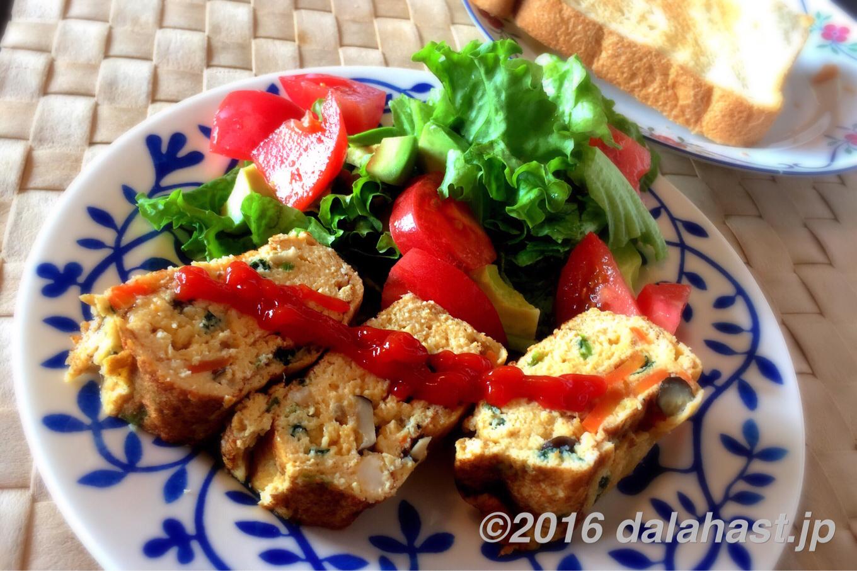 野菜たっぷり、おからのヘルシー卵焼き 朝活もはかどる!