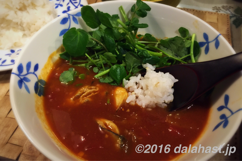 牡蠣とクレソンのスープカレー