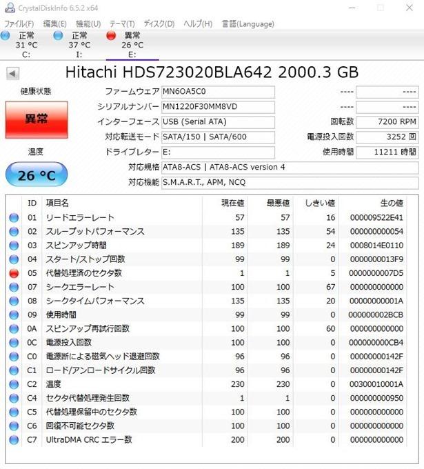 CrystalDiskinfo新HDD3TB