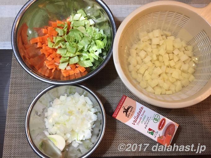 塩麹ミネストローネ材料