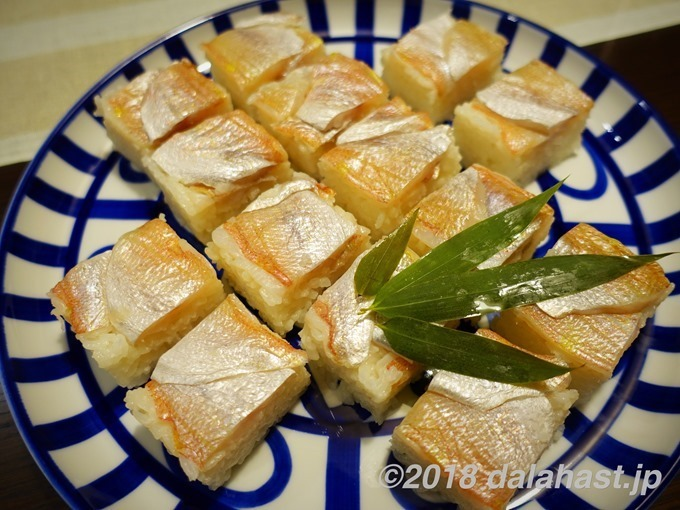 小鯛の笹漬けの押し寿司