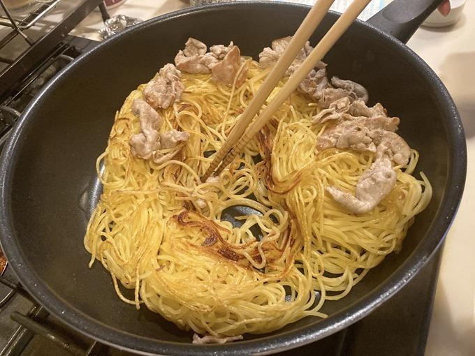 スパゲティで作る日田焼きそば
