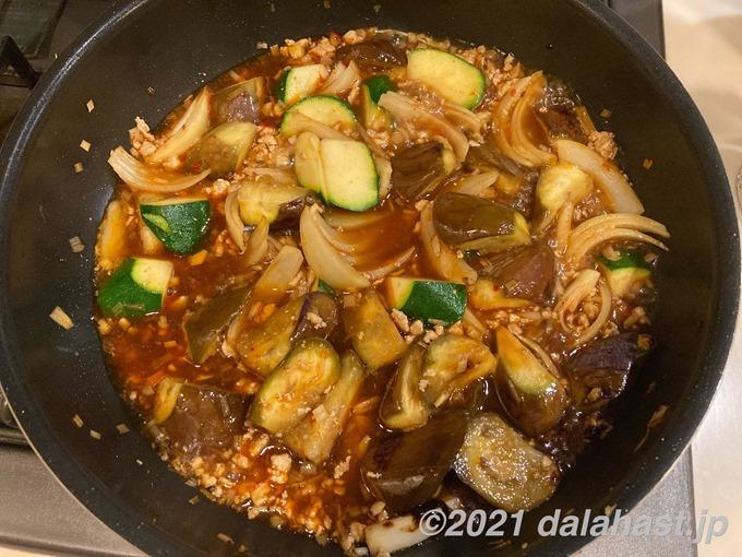 鶏ひき肉の麻婆茄子_煮込む